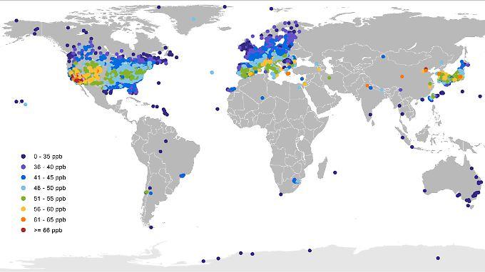 Mittlere Tageshöchstwerte der Ozonkonzentration in der warmen Jahreszeit.