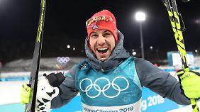 Nächstes Edelmetall für Deutschland: Biathlet Arnd Peiffer sprintet zu Gold