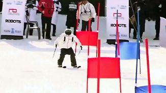 Skurriles Schlingern im Olympia-Schnee: Drollige Ski-Roboter purzeln um die Wette