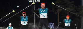 Johannes Rydzek, Fabian Rießle und Eric Frenzel holen alle drei Podestplätze.
