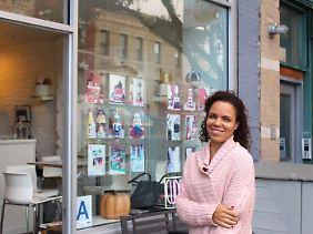"""Miriam Milord vor ihrem Laden """"BCakeNY"""". Hier entwirft sie die verrücktesten Back-Kunstwerke."""