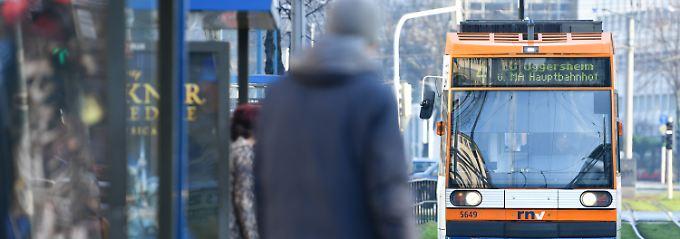 Straßenbahn in Mannheim.