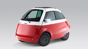 Der elektrisch angetriebene Microlino steht in Genf als Serienmodell.