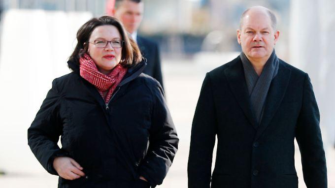 Das neue Gespann an der Spitze der SPD: Andrea Nahles und Olaf Scholz. Auf beide kommt nun viel Arbeit zu.