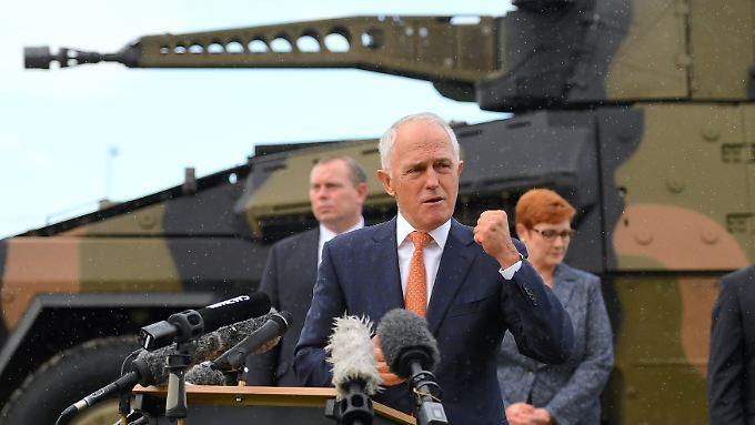 Australiens Premier Malcolm Turnbull bei einem Truppenbesuch in Brisbane.
