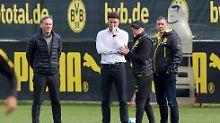 Training bei Borussia Dortmund mit BVB-Trainer Peter Stöger, Geschäftsführer Hans-Joachim Watzke und Sportdirektor Michael Zorc.