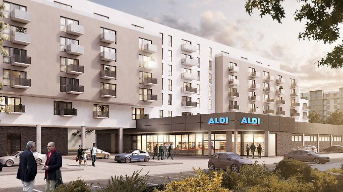 So stellen sich Aldi und andere Supermarktketten die Zukunft vor: Kleinere, mehrgeschössige Fillialen mit angeschlossenen Wohnungen.