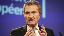 """Streit um Macrons Reformpläne: Oettinger: Töne in Union """"nicht hinnehmbar"""""""