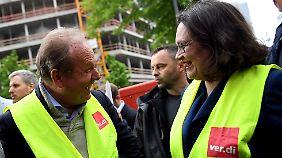 Verdi-Chef Bsirske und SPD-Vorsitzende Nahles nahmen an der Aktion teil.