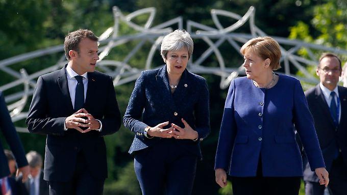 Macron, May und Merkel kamen gemeinsam zum EU-Gipfel in Sofia.
