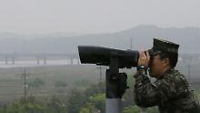 Die Grenze zwischen dem Norden und Süden wird auf der koreanischen Halbinsel streng bewacht.