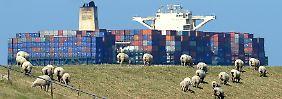 Containerschiff auf der Elbe bei Brokdorf (Schleswig-Holstein).
