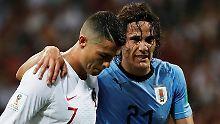 Uruguay steht im Viertelfinale: Cavani zaubert Ronaldo aus der WM