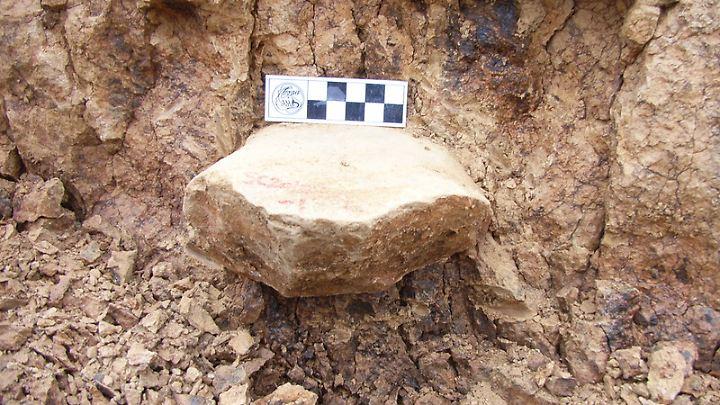 Steinwerkzeug aus der etwa 2 Millionen Jahre alten Löss-Fundschicht.