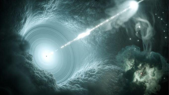 Computergrafik des aktiven Galaxienkerns. Das supermassive Schwarze Loch im Zentrum der Akkretionsscheibe schickt einen energiereichen, scharf gebündelten Teilchenstrahl senkrecht ins All.