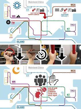Das Diagramm zeigt spezifische Mischmuster von Bakterien bei U-Bahnlinien innerhalb von Hongkong und auf dem Festland von China am Morgen und Abend.