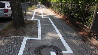 Keine Kunst, sondern ernst gemeint: Berlin-Zehlendorf irritiert mit Zick-Zack-Radweg