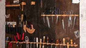 Burghardts Werkzeuge füllen eine ganze Wand.