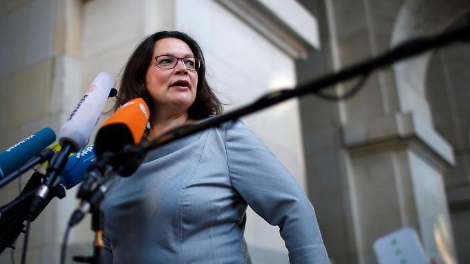 SPD-Chefin Nahles machte Anfang der Woche mit ihrem kategorischen Nein zu einem Syrien-Einsatz auf sich aufmerksam.