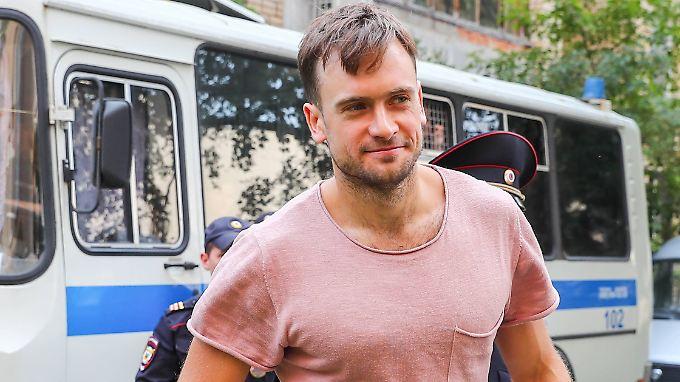 Piotr Wersilow auf dem Weg zu einer Anhörung in Moskau im Juli 2018.