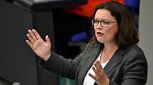 """Koalitionsbruch stand im Raum: Nahles: Maaßen-Deal """"ist schwer erträglich"""""""