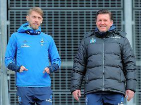 Aaron Hunt und sein Trainer Christian Titz.
