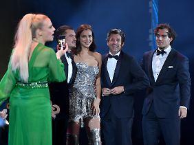 Moderatorin Barbara Schöneberg durfte auf der Bühne auch Orlando Bloom, Irina Shayk, Patrick Dempsey und Henry Cavill begrüßen.