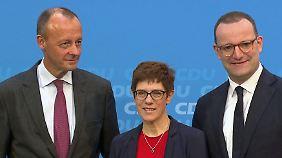 Zahmer Auftakt bei Frauen-Union: Merz, AKK und Spahn starten Wahlkampf versöhnlich