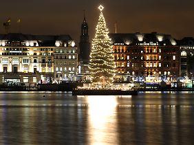 Beliebter Brauch: Durchgesetzt hat sich der Weihnachtsbaum als Symbol jedenfalls weltweit, wie hier in Hamburg.