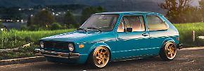 Mehr Tuning findet der Besucher der Essen Motor Show natürlich bei Fahrzeugen wie dem aufgebretzelten Golf 1. Mk1 carbon.