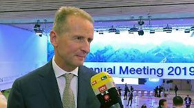 """VW-Chef Diess in Davos: Feinstaub-Diskussion ist """"übers Ziel hinausgeschossen"""""""