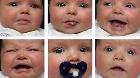 Verschiedene Gesichtsausdrücke eines neun Wochen alten Kindes.