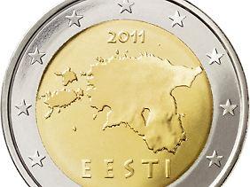 Die Umrisse Estlands: Ab Mitternacht sind die neuen Euro-Münzen im Umlauf.