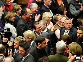 Der Minister wurde in Hessen mit viel Applaus empfangen.