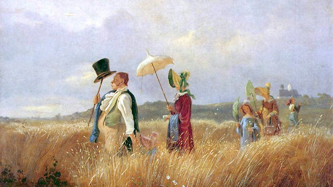 """""""Der Sonntagsspaziergang"""" einer bürgerlichen Familie (Bild von Carl Spitzweg von 1841)."""