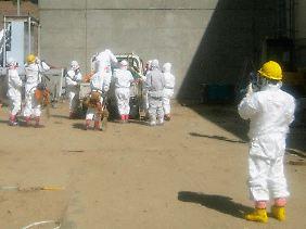 Arbeiter an dem havarierten Atomkraftwerk.