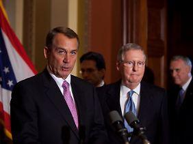 Die Republikaner (links John Boehner) lehnen sämtliche Steuererhöhungen ab.