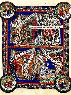 Die Vorläufer der Sprechblasen: eine Seite aus dem Evangeliar Heinrichs des Löwen, 12. Jahrhundert.