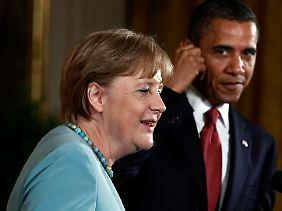 Selbst beim Streitthema Libyen demonstrieren Merkel und Obama Einigkeit.