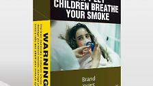 """Ab 1. Dezember dürfen nur noch Packungen in einheitlichem Design verkauft werden, auf denen vor den Gefahren des Rauchens gewarnt wird.  """"Lassen Sie Kinder nicht Ihren Rauch einatmen"""", heißt es über einem der harmloseren Motive."""