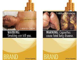 In den USA sollen ab Herbst 2012 Schockbilder auf Zigarettenschachteln gedruckt werden.