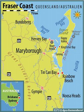 Die größte Sandinsel der Welt: Fraser Island liegt etwa vier Autostunden nördlich von Brisbane vor der Küste des Bundesstaates Queensland.