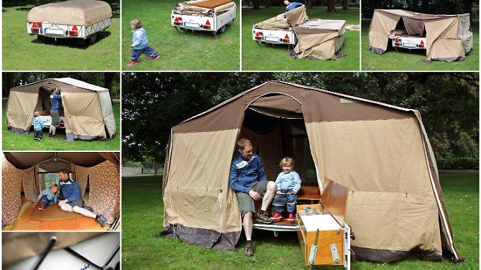 Die Bildkombo zeigt den Aufbau eines Zeltanhängers Camptourist CT-7.