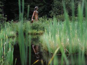 """Holzfigur der """"Frau Holle"""" am Frau-Holle-Teich auf dem Hohen Meißner bei Hessisch Lichtenau."""