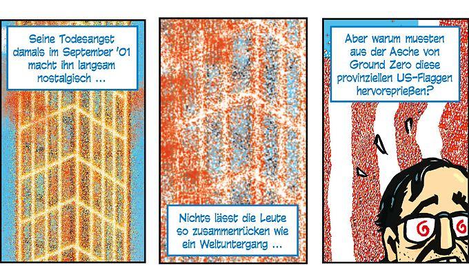 Das Bild des glühenden Stahlgerippes des Nordturms wird Spiegelman nicht mehr los.