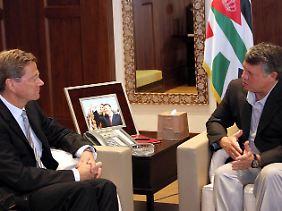 Im Gespräch mit dem jordanischen König Abdullah II. würdigt Westerwelle die Reformbemühungen Jordaniens.