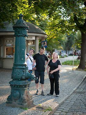 Historische Wasserpumpe in Berlin-Neukölln.