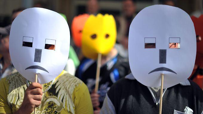 Bei einem Protest für den Erhalt von Jugendwerkstätten in Hannover.