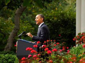 Obama hielt seine Rede im Rosengarten des Weißen Hauses.