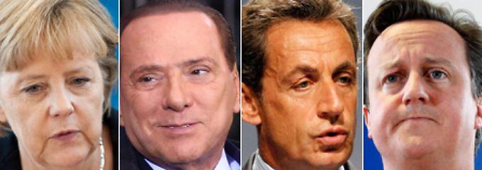 Merkel, Berlusconi, Sarkozy, Cameron: Europa liegt in ihren Händen.